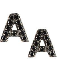 KC Designs | 14k White Gold & Black Diamond Initial Single Stud Earring | Lyst