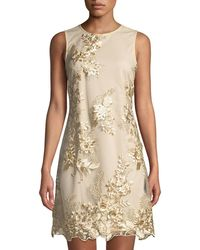 Donna Ricco - Embroidered Mesh-overlay Sheath Cocktail Dress - Lyst
