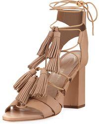 Loeffler Randall - Luz Tassel Lace-up Leather Sandal - Lyst