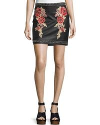 Romeo and Juliet Couture - Faux-leather Studded Embroidered Skirt - Lyst