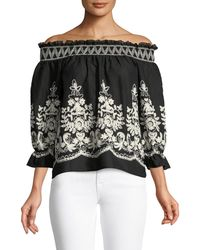 Metric Knits - Embroidered Off-the-shoulder Blouse - Lyst
