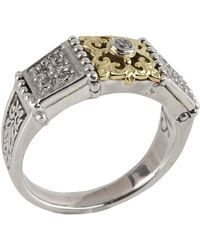 Konstantino - Asteri Slim Floral Pave White Diamond Band Ring - Lyst