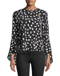 Carmen By Carmen Marc Valvo - Dot-print Bell-sleeve Button Back Blouse - Lyst