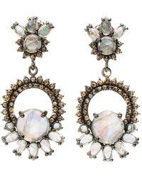 Bavna - Silver Drop Earrings With Diamonds & Multi-cut Rainbow Moonstone - Lyst