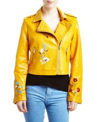 Romeo and Juliet Couture - Embroidered Faux-leather Moto Jacket - Lyst