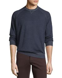 Neiman Marcus - Men's Crewneck Raglan-sleeve Wool-blend Sweater - Lyst
