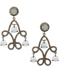 Bavna - Silver Scroll Drop Earrings With Champagne Diamonds & Aquamarine - Lyst