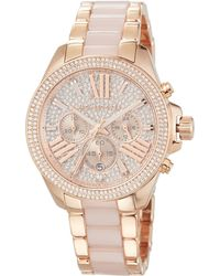 MICHAEL Michael Kors - Wren Rose Golden Stainless Steel Pave Chrono Watch - Lyst