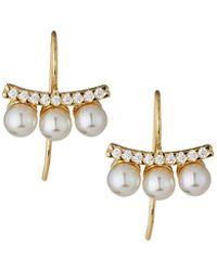 Majorica - 18k Vermeil Pave Crystal Pearly Bar Drop Earrings - Lyst
