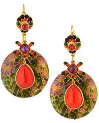 Jose & Maria Barrera - Decoupage Wood Drop Earrings - Lyst