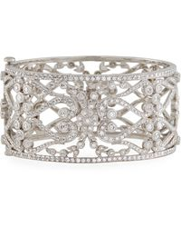 Penny Preville - 18k Diamond Pavé Flower & Scroll Cuff - Lyst