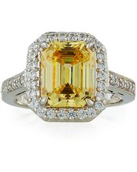Fantasia by Deserio - Asscher-cut Canary Cz Ring - Lyst