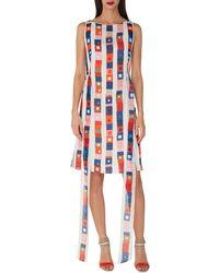 bd891417ac Akris - Sleeveless Super-stripe Photo-print Silk Carwash Dress - Lyst