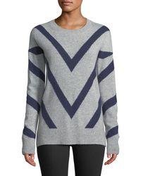 Neiman Marcus - Cashmere Chevron-striped Sweater - Lyst