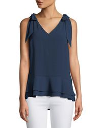 Cece by Cynthia Steffe - V-neck Layered Crepe Blouse - Lyst