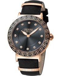 Ferrè Milano - Women's 38mm Stainless Steel Watch With Leather Strap Rose/black - Lyst