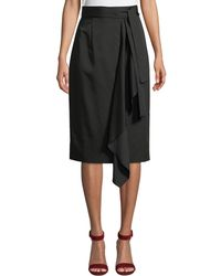 Tahari - Belted Draped-front Skirt - Lyst