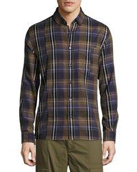 Public School - Retro Plaid Cotton Exposed-seam Shirt - Lyst