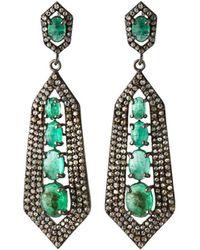 Bavna - Silver Spike Drop Earrings With Green Emerald & Diamonds - Lyst