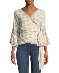Max Studio - 3/4-sleeve Floral Wrap Top - Lyst