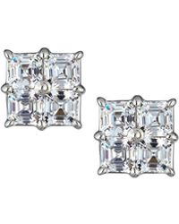 Fantasia by Deserio - Square Cubic Zirconia Stud Earrings Clear - Lyst