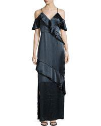ABS By Allen Schwartz - Ruffled Crinkle-satin Gown - Lyst