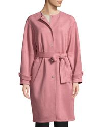Laundry by Shelli Segal - Button-front Belted Suede Coat - Lyst