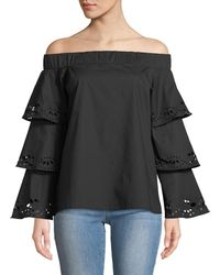 Metric Knits - Off-the-shoulder Laser-cut Bell-sleeve Blouse - Lyst