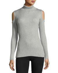 Sweet Romeo - Cold-shoulder Turtleneck Sweater - Lyst