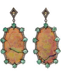 Bavna - Black Silver Oval Drop Earrings With Compressed Opal - Lyst