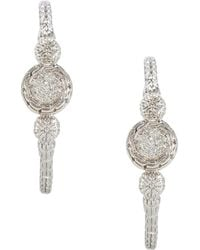 John Hardy - Silver Carved Chain Diamond Pave Hoop Earrings - Lyst