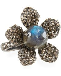 Bavna - Labradorite & Diamond Flower Ring - Lyst