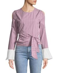 EVIDNT - Belted Slit-sleeve Blouse - Lyst