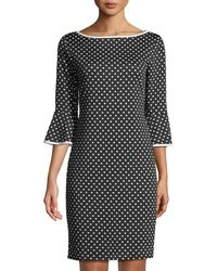 Neiman Marcus - 3/4-bell Sleeve Polka-dot Dress - Lyst