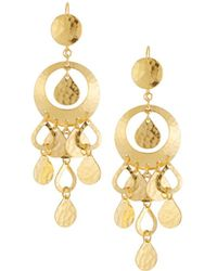 Jose & Maria Barrera - 24k Gold-plated Hammered Chandelier Earrings - Lyst