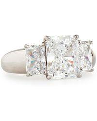 Fantasia by Deserio - Wide-shank Triple Radiant-cut Cz Crystal Ring - Lyst