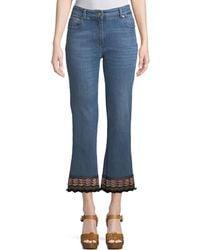 Etro - Cropped Jeans W/ Passementerie Detail - Lyst