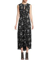 Vince - Tossed Floral-print Sleeveless Silk Maxi Dress - Lyst