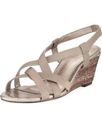 Adrianna Papell - Elastic Stretch Wedge Sandals - Lyst