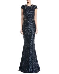 David Meister - Sequined Cap-sleeve Appliqué Waist Evening Gown - Lyst