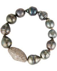 Bavna - Baroque Pearl Stretch Bracelet W/ Pavé - Lyst