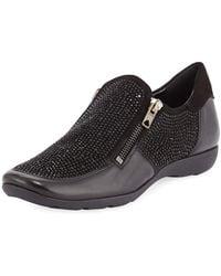 Sesto Meucci - Gali Crystal Zip Sneakers Black - Lyst