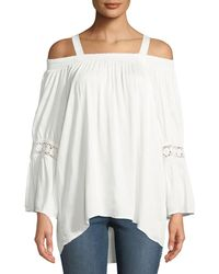 e5866a1023b1b0 Neiman Marcus - Cold-shoulder Knit Bell-sleeve Blouse - Lyst