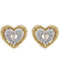 Dior - Estate 18k Tricolor Diamond Heart Earrings - Lyst