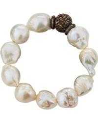 Bavna - Pearl & Diamond Pavé Bracelet - Lyst