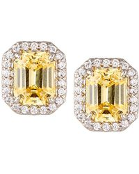 Fantasia by Deserio - Emerald-cut Pave Stud Earrings Yellow - Lyst