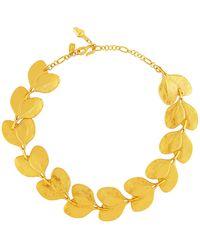 Kenneth Jay Lane - Satin-finished Golden Branch & Leaf Necklace - Lyst