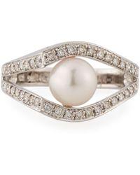 Belpearl - Illusion-set Akoya Pearl & Diamond Ring In 14k White Gold - Lyst