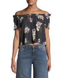 Astr - Off-the-shoulder Cropped Floral Blouse - Lyst