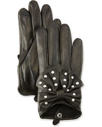 Neiman Marcus - Embellished Short Leather Tech Gloves - Lyst